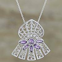 Amethyst pendant necklace, 'Lilac Insignia' - Amethyst pendant necklace