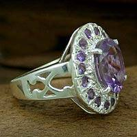 Amethyst cocktail ring, 'Circle of Light' - Handcrafted Sterling Silver Multi-Stone Amethyst Ring