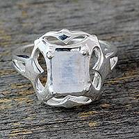 Rainbow moonstone cocktail ring, 'Reverie' - Rainbow Moonstone Cocktail Ring