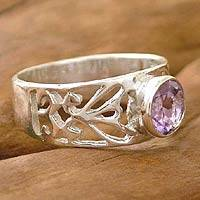Amethyst solitaire ring, 'Floral Embrace' - Amethyst and Silver Ring from India