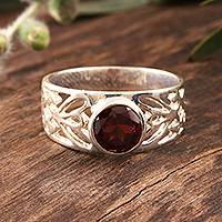 Garnet solitaire ring, 'Floral Embrace' - Sterling Silver and Garnet Ring