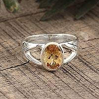 Citrine solitaire ring, 'Gentle Kiss' - Sterling Silver and Citrine Ring from Modern Indian Jewelry