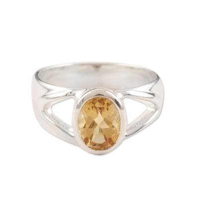 Sterling Silver and Citrine Ring from Modern Indian Jewelry