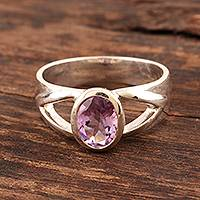 Amethyst solitaire ring, 'Gentle Kiss' - Amethyst solitaire ring