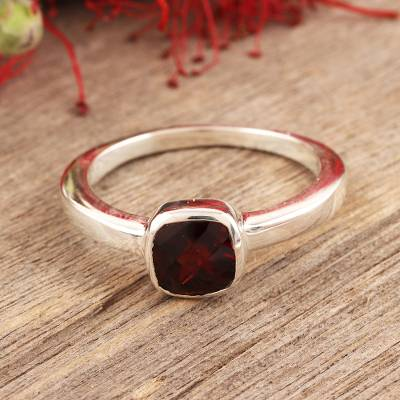 Garnet solitaire ring, 'Scarlet Muse' - Fair Trade Sterling Silver Single Stone Garnet Ring