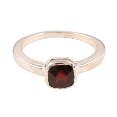 Fair Trade Sterling Silver Single Stone Garnet Ring