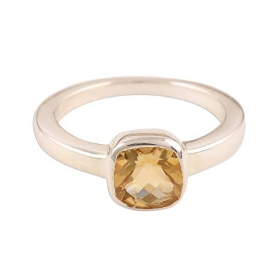 Hand Crafted Sterling Silver Single Stone Citrine Ring