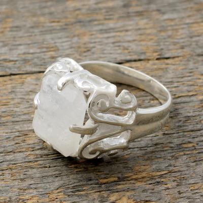 Rainbow moonstone cocktail ring, 'Elegance' - Sterling Silver with Rainbow Moonstone Ring Fair Trade