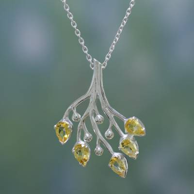 Citrine floral necklace, 'Summer Song' - Citrine and Sterling Silver Artisan Crafted Necklace
