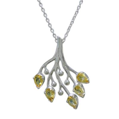 Citrine and Sterling Silver Artisan Crafted Necklace