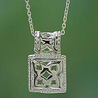 Sterling silver pendant necklace, 'Secret Chamber' - Sterling silver pendant necklace