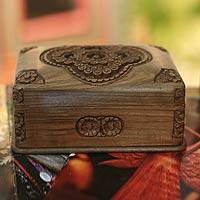 Walnut wood jewelry box, 'Treasured Roses' - Hand Carved Floral Wood jewellery Box