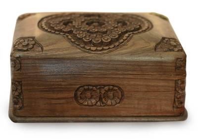 Hand Carved Floral Wood Jewelry Box