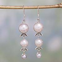 Pearl dangle earrings, 'Three Moons' - Pearl Earrings Handcrafted Bridal Sterling Silver Jewelry