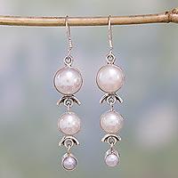 6990312f9 Pearl dangle earrings, 'Three Moons' - Pearl Earrings Handcrafted Bridal  Sterling Silver Jewelry