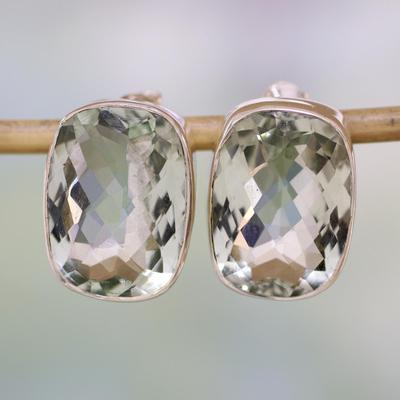 Prasiolite stud earrings, 'Crystal Pool' - Unique Sterling Silver and Prasiolite Button Earrings