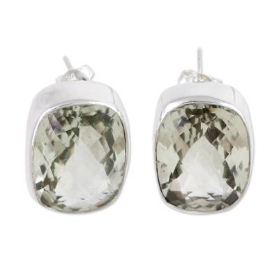 Unique Sterling Silver and Prasiolite Button Earrings