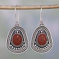 Sterling silver dangle earrings, 'Charm of India' - Sterling silver dangle earrings