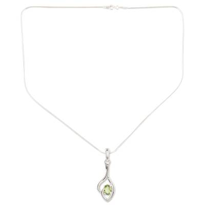 Peridot pendant necklace, 'Shy' - Sterling Silver and Peridot Necklace
