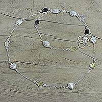 Citrine and smoky quartz long necklace, 'Love Charmer' - Sterling Silver Necklace with Smokey Quartz and Citrine