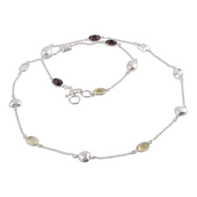 Sterling Silver Necklace with Smokey Quartz and Citrine