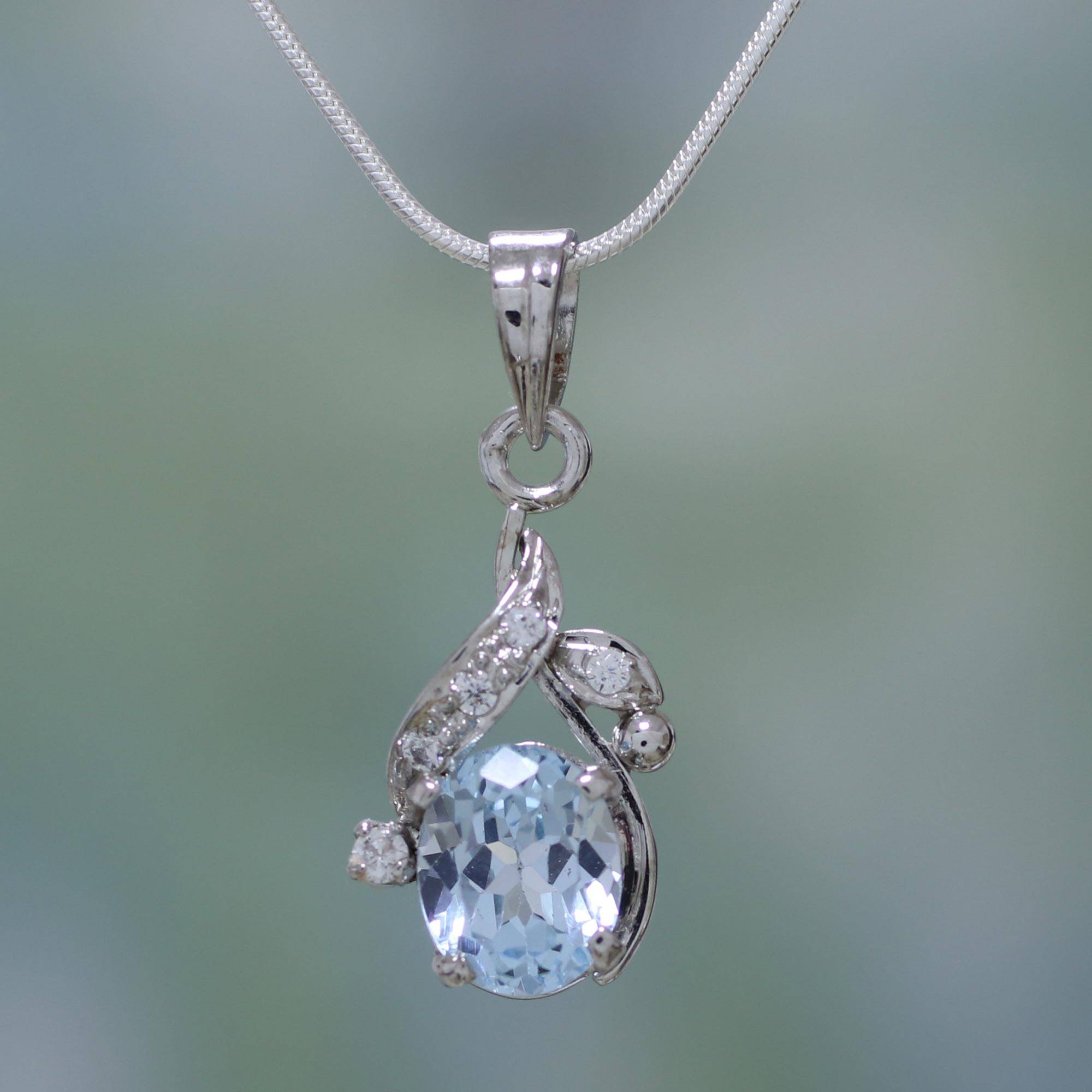 82bc3b9c1e2005 UNICEF Market | Sterling Silver Necklace Cubic Zirconia Blue ...