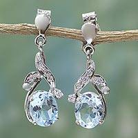 Blue topaz dangle earrings, 'Dazzling Dew' - Handcrafted Sterling Silver Blue Topaz Earring Floral Jewelr