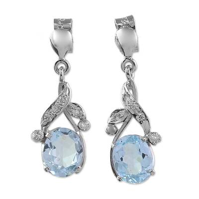 Blue topaz dangle earrings, 'Dazzling Dew' - Handcrafted Sterling Silver Blue Topaz Earring Floral Jewelr