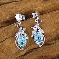 Blue topaz flower earrings, 'Scintillating Bouquet' - Hand Crafted Silver and Blue Topaz Earrings