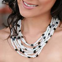 Rainbow moonstone and onyx strand necklace, 'Dream of India' - Rainbow Moonstone and onyx strand necklace