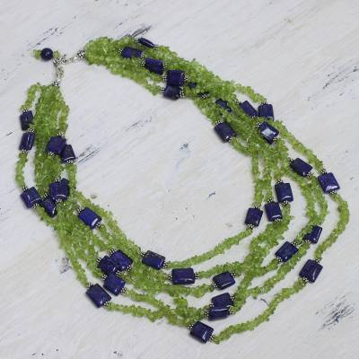 Peridot and lapis lazuli torsade necklace, 'Spring Harmony' - Peridot and lapis lazuli torsade necklace