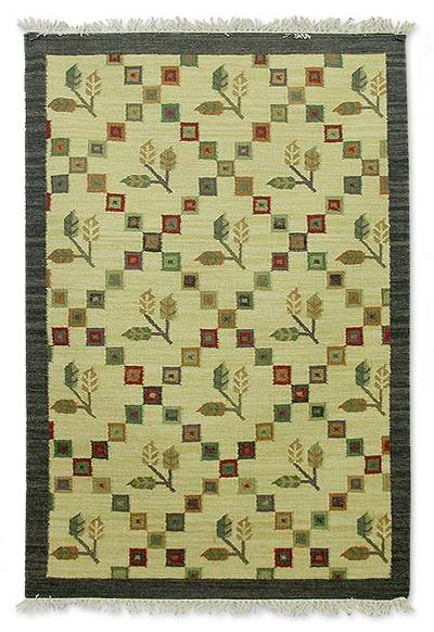 Wool Rug Autumn Harmony 4x6 Fair Trade Area Handmade