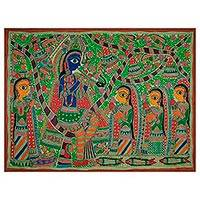 Madhubani painting, 'Fun With Krishna' - Indian Madhubani Painting
