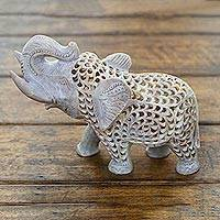 Soapstone sculpture, 'Father Elephant' - Jali Natural Soapstone Sculpture from India
