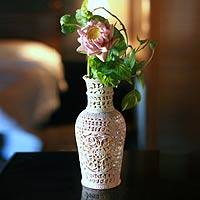 Soapstone vase, 'Floral Honor'