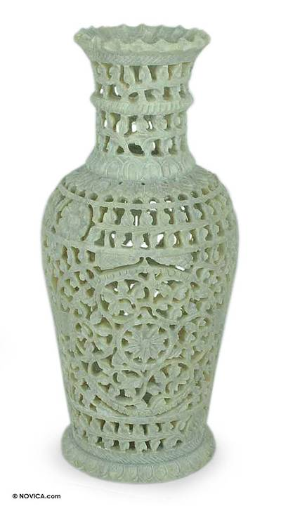 Soapstone vase, 'Floral Honor' - Fair Trade Soapstone Vase Decorative Hand Crafted