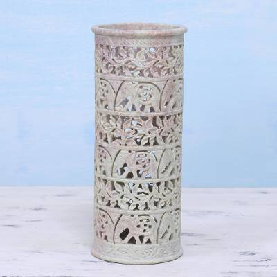 Soapstone vase, 'Elephant Jungle' - Handcrafted Natural Soapstone Decorative Vase