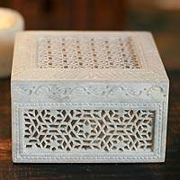 Soapstone jewelry box, 'Ivy Trellis' - Unique Jali Soapstone Jewelry Box