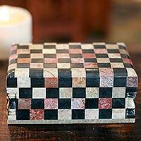 Soapstone jewelry box, 'Chess Master' - Soapstone Inlay Jewelry Box