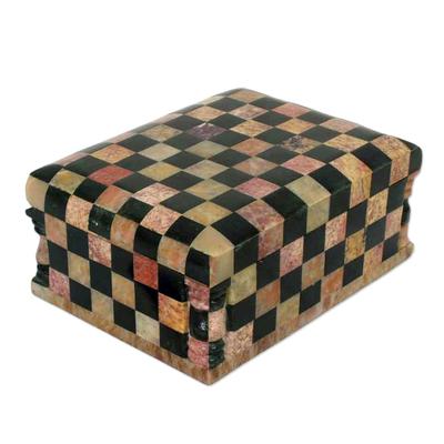 Soapstone jewelry box, 'Chess Master' - Soapstone Inlay Jewelry Box