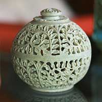 Soapstone jar, 'Jasmine Rose' - Natural Soapstone Jar in Handcarved Jali Openwork