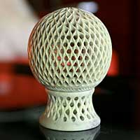 Soapstone candleholder, 'Lattice Globe' - Jali Soapstone Candle Holder Handcrafted in India