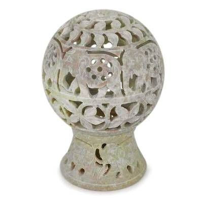 Soapstone candleholder, 'Elephant Parade' - India Hand Carved Soapstone Candle Holder