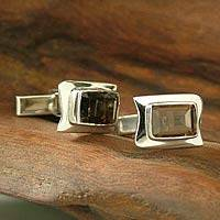 Quartz cufflinks, 'Smoke' - Hand Crafted Sterling Silver Smokey Topaz Cufflinks