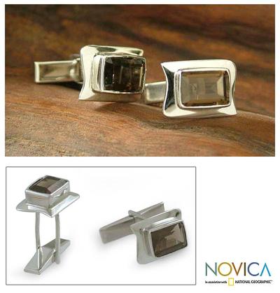 Quartz cufflinks, 'Smoke' - Hand Crafted Sterling Silver Smokey Topaz Cufflinks