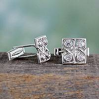 Sterling silver cufflinks, 'Ice Cubes' - Sterling silver cufflinks