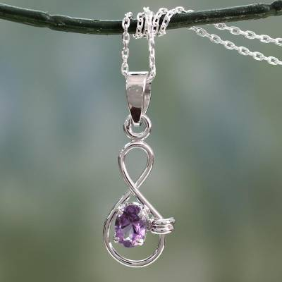 Amethyst choker, 'Mystic Infinite' - Sterling Silver and Amethyst Necklace