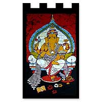 Cotton batik wall hanging, 'Benevolent Ganesha' - Batik Cotton Wall Hanging with Hinduism Theme
