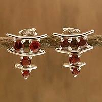 Garnet earrings, 'Scarlet Stars'