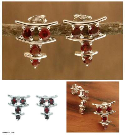 Garnet earrings, 'Scarlet Stars' - Garnet earrings